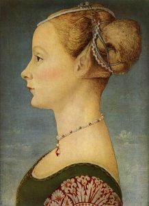 Piero del Pollaiolo. Ritratto di donna di profilo, tempera e olio su tavola, cm. 45,5 x 32,7. Museo Poldi Pezzoli, Milano