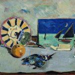 """Filippo de Pisis. Natura morta col martin pescatore, 1925, olio su cartone, cm. 46 x 71,5. Ferrara, Museo d'Arte Moderna e Contemporanea """"Filippo de Pisis"""""""