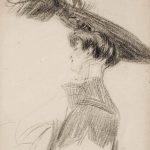Giovanni Boldini. Busto di madame Lydig, c. 1900 - 10, matita su carta, cm. 31 x 23,4