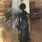 """Giovanni Boldini. Donna in nero che guarda il """"Pastello della signora Emiliana Concha de Ossa"""", c. 1888, olio su tavola, cm. 80,5 x 64,5"""