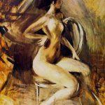 Giovanni Boldini. Nudino scattante, c. 1910, olio su tavola, cm. 34.5 x 26.5
