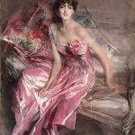Giovanni Boldini. La signora in rosa, (ritratto di Olivia de Subercaseaux Concha), 1916, olio su tela, cm. 163 x 113. Ferrara, Gallerie d'Arte Moderna e Contemporanea, Museo Giovanni Boldini