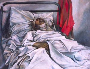 Morte di un eroe, 1953, olio su tela, cm. 88 x 110. Estorick Collection, London