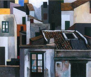 Case di Palermo, circa 1976, olio su tela, cm. 50 x 70. Renato Guttuso. Tetti di Roma, c. 1973, olio su tela, cm. 70 x 85. Credits: Courtesy Galleria d'Arte Maggiore, Bologna