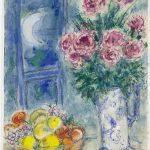 Marc Chagall. Senza titolo (Natura morta con frutta e fiori), 1956-1957. Guazzo, pastelli, acquerello, e cera su carta, cm. 70,5 x 54,5. Regalo di Victor e Anne-Marie Loeb, Bern, Switzerland