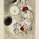 Marc Chagall. Coppia di amanti con gallo, 1951 Litografia a colori, cm. 95,4 x 64,7. Credits: Dono di Ida Chagall, Parigi © Chagall ® by SIAE 2015