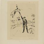 """Marc Chagall. Passeggiata I (n. 26), 1923. Tavola inedita per il libro """"Ma vie"""". Puntasecca, cm. 45,3x35. Credits: Lascito Paul Barchan, Paris © Chagall ® by SIAE 2015"""