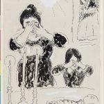 Marc Chagall. Sabbath dalla serie masterizzazione Lights. Inchiostro di china e guazzo su carta, cm. 22,2 x 14,5