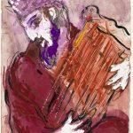"""arc Chagall. Il Salmo di Davide, ca. 1956. Disegno per l'edizione """"Verve"""" della Bibbia. Inchiostro di china, tempera, acquerello e matita su carta, cm. 35,6 x 26,5. Regalo di Ida Chagall, Parigi"""