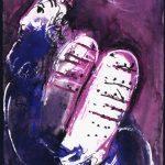 """Marc Chagall. Mosè, 1956. Disegno per l'edizione """"Verve"""" della Bibbia. Matita, inchiostro di china, acquerello, e guazzo su carta, cm. 38,2 x 28,5. regalo di Ida Chagall, Parigi"""