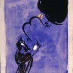 """Marc Chagall. Mosè riceve le Tavole della Legge, 1956. Disegno per l'edizione """"Verve"""" della Bibbia. India inchiostro, guazzo e acquerello su carta, cm. 40 x 31,2. Dono di Ida Chagall, Parigi"""