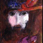 """Marc Chagall. Davide e Betsabea, 1955. Disegno per l'edizione """"Verve"""" della Bibbia. Inchiostro, acquerello e guazzo su carta, cm. 35 x 26,1. Regalo di Ida Chagall, Parigi"""
