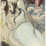 Marc Chagall. Sarah e Abimelech. Litografia a colori, 1960, cm. 35,5 x 26,3. Lascito di Noah Chodos, New York, per gli Amici americani del Museo di Israele