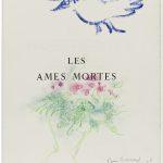 """Marc Chagall. Copertina per """"Anime Morte"""". Gesso, olio e pastelli su carta, cm. 38 x 28. Dedicata a Bernard e Becky Reid, firmata e datata 1963"""