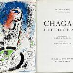 Marc Chagall. Litografia di Chagall, di Julien Cain, con 12 litografie a colori. Casa editrice André Sauret, Monte Carlo, 1960, cm. 32,5 x 51. La Vera e Henry Mottek Collection, un dono per lo Stato di Israele in prestito permanente al The Israel Museum, Gerusalemme