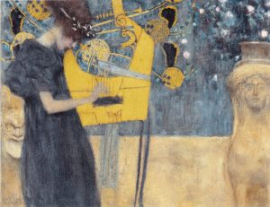 Gustav klimt. La Musica I, 1895, olio su tela, cm. 37 × 44.5. Neuepinakotek, Munich