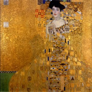 Gustav Klimt. Ritratto di Adele Bloch Bauer, 1907. Olio su tela, cm. 138 x 138.  New York City, Neue Galerie