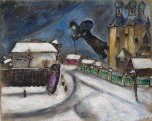 Sopra Vitebsk, 1914. Gouache, grafite, e matita colorata su cartone, cm. 51,5 x 64,3. Lascito Anna Salzmann, Parigi, allo Stato di Israele