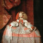 Velásquez. Ritratto dell'Infanta Margherita Teresa, 1660. Olio su tela, cm. 212 × 147. Museo del Prado, Madrid