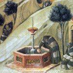 Siena. Pietro Lorenzetti. Eremiti alla fontana di Elia, Pala del Carmine. Pinacoteca di Siena