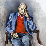 """Guttuso. Ritratto di Moravia, 1982. Olio su tela, cm. 122 x 95. Casa Museo """"Alberto Moravia"""", Roma"""
