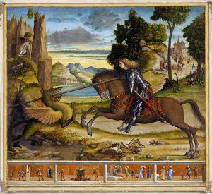 Vìttore Carpaccio. San Giorgio e il drago e quattro episodi della vita del Santo, 1516. San Giorgio Maggiore, Venezia