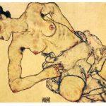 Egon Schiele. Donna inginocchiata seminuda, 1917