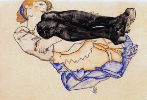 Egon Schiele. Donna con calze blu 1912