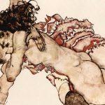 Egon schiele. CCoppia di donne abbracciate l'un l'altra, 1915