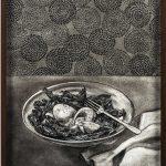 Elad Lassry. Uova, bietola, 2014. Disegno a carboncino, cornice in noce, cm. 36,8 x 29,2 x 3,8. Courtesy Massimo De Carlo Milano / London
