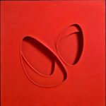 Paolo Scheggi. Intersuperficie curva dal rosso, 1964. Acrilico rosso su tre tele sovrapposte, cm . 90 x 90 x 6.5