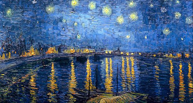 Vincent van Gogh. Notte stellata sul Rodano, 1888. Olio su tela, (dettaglio). Musèe d'Orsay, Parigi