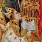 Giotto. Polittico Stefaneschi. Cardinale Stefaneschi, particolare dal recto