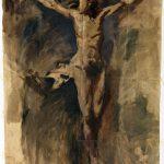 Pablo Picasso. Cristo crocifisso, 1896-1897. Olio e carboncino su carta, cm. 73,5 x 54,4. Museu Picasso, Barcellona/Gasull. Dono di Pablo Picasso, 1970. © Succession Picasso, by SIAE 2015
