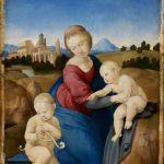 Raffaello Sanzio. Madonna col Bambino e san Giovannino (Madonna Esterházy), 1508 ca. Tempera e olio su tavola, cm. 28,5 x 21,5