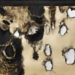 Alberto Burri. Combustione plastica, 1958. Plastica (PVC), acrilico, tessuto, graffette, e combustione su tela, cm. 120 x 150. Collezione privata, per gentile concessione Sperone Westwater, New York