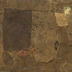 Alberto Burri. Composizione, 1953. Iuta, tessuto, filo, vernice, polimero sintetico, foglia d'oro, e PVA. Credits: Solomon R. Guggenheim Museum, New York