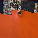 Alberto Burri. Rosso gobbo, 1955. Acrilico, tessuto, Vinavil e combustione su tessuto nero; Vinavil sul verso, cm.86 x 100. Per gentile concessione Galleria Tega, Milan. Photo: Paolo Vandrasch e Romina Bettega