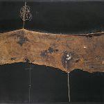 Alberto Burri. Sacco SF 1, ca. 1954. Iuta, filo, acrilico, e PVA su tela, cm. 86 x 100,6. Collezione privata, Ezio Gribaudo, Torino