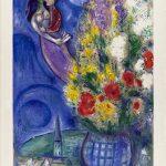 Marc Chagall. Coppia di amanti e Fiori. Litografia a colori, 1949, cm. 55,5 x 41. dono di Ida Chagall, Parigi