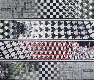 Escher. Metamorfosi II, 1939–1940. Incisione, cm. 19.2 × 389.5