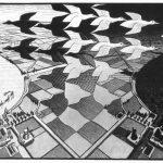 Escher. Giorno e notte, 1938. Xilografia in nero e grigio, stampato da due blocchi, mm. 39,2 x 67,6