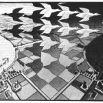Cornelis Escher. Giorno e notte, 1938. Xilografia in nero e grigio, stampato da due blocchi, mm. 39,2 x 67,6