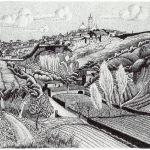 Escher. Paesaggio italiano, dintorni di Siena, 1923. Litografia