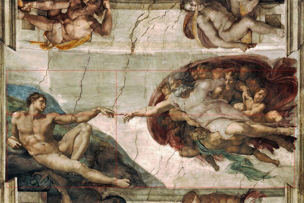 Michelangelo - Creazione di adamo - sezione aurea