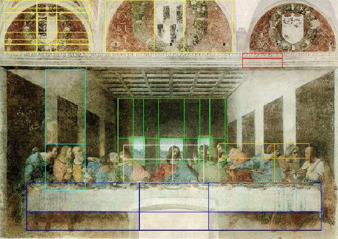 Leonardo da Vinci - ultima cena - sezione aurea