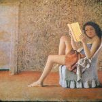 katia che legge, 1974. Olio su tela, cm. 180 X 120. Collezione privata