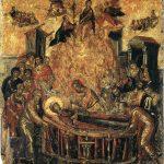 El Greco in Italia. El Greco. Dormitio Virginis, 1567. Tempera e oro su tavola, cm.61 x 45. Cattedrale della Dormizione della Vergine, Ermoupoli