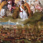 El Greco in Italia. Paolo Caliari, detto il Veronese. Allegoria della battaglia di Lepanto, 1572 - 73. Olio su tela, cm. 169 x 137. Gallerie dell'Accademia, Venezia