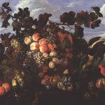 Abraham Brueghel. Grande natura morta con frutta in un paesaggio, 1670. Olio su tela, cm 97x136,5. Collezione privata
